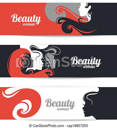 美しい女性, silhouette., デザイン, テンプレート, カード, 流行, 旗 - csp19857250