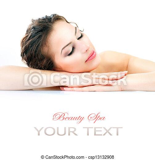 美しい女性, spa., 健康, 若い, 皮膚, 新たに - csp13132908