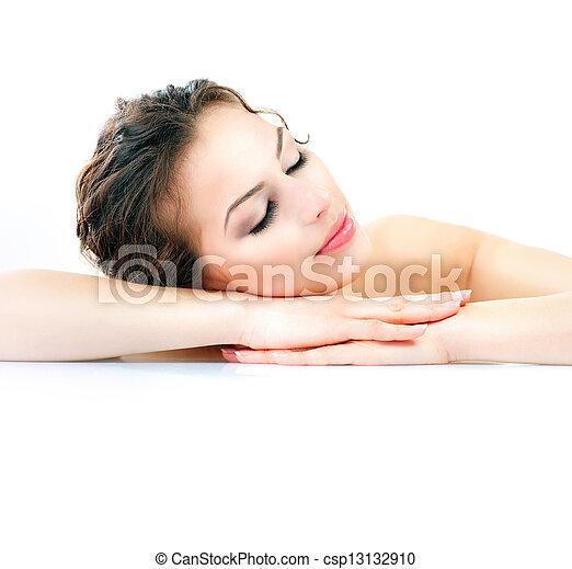 美しい女性, spa., 健康, 若い, 皮膚, 新たに - csp13132910
