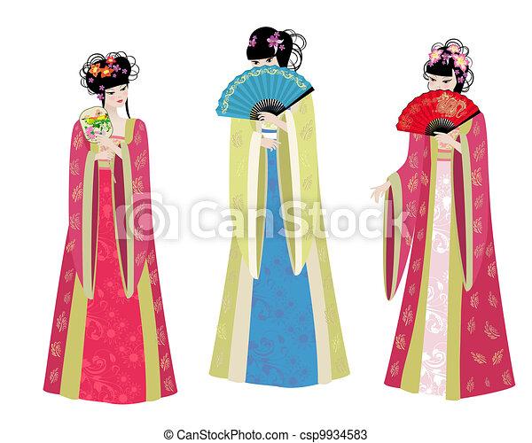 美しい少女たち, 衣装, アジア人 - csp9934583