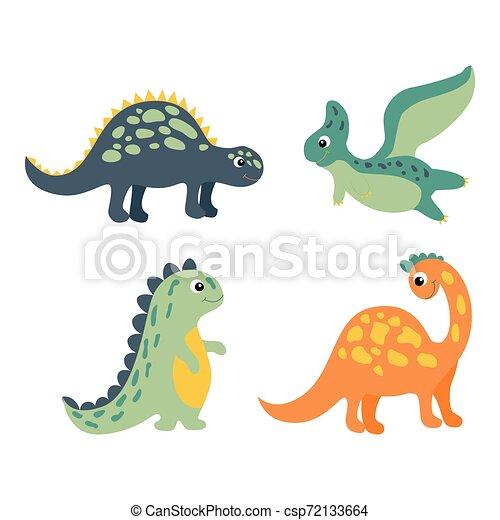 美しい, かわいい, スタイル, セット, カラフルである, 幸せ, dino, concept., 特徴, 隔離された, 平ら, バックグラウンド。, 恐竜, vector., インターネット, 微笑, 白, design., 漫画, スタイル - csp72133664