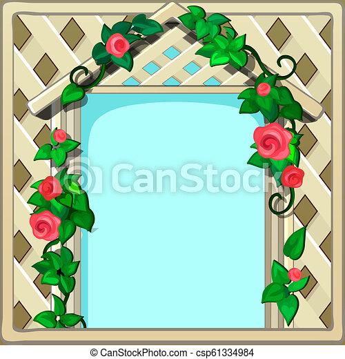 美しい, かわいい, 映像, ∥あるいは∥, illustration., 形態, スペース, 木製のフレーム, クローズアップ, 写真, 漫画, flowers., ベクトル, テキスト, 新たに, 飾られる, 編まれる, あなたの, カード, 挨拶 - csp61334984