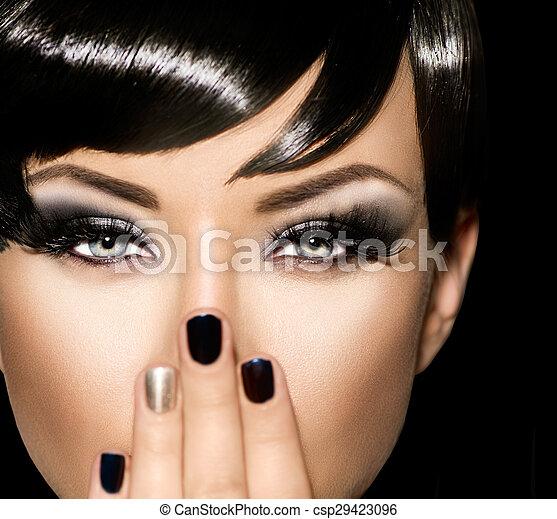美しい, スタイル, ファッション, 芸術, girl., 女性の 肖像画, 流行 - csp29423096