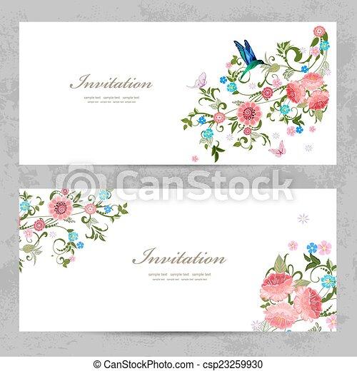 美しい, デザイン, 招待, カード, 花, あなたの - csp23259930