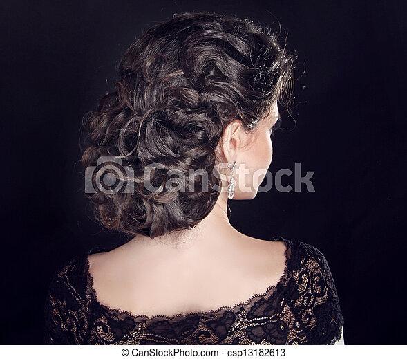 美しい, ブルネット, hairstyle., 巻き毛, girl., 波状, hair. - csp13182613
