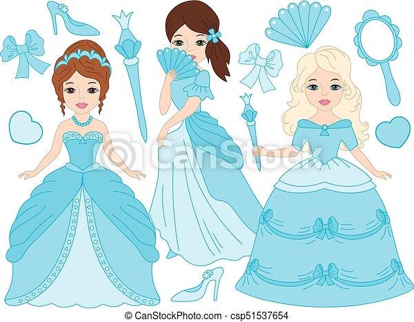 美しい ベクトル セット プリンセス 美しい トルコ石 Dresses
