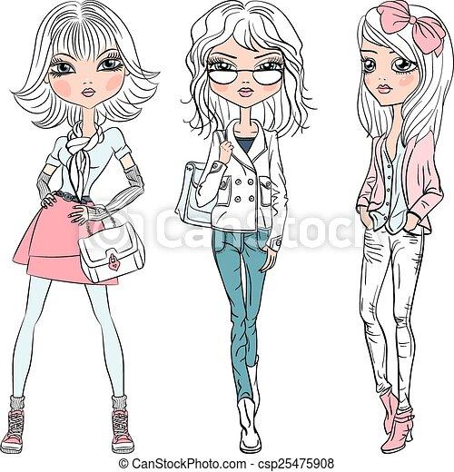 美しい, ベクトル, 女の子, ファッション - csp25475908