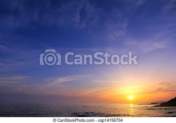 美しい, 上に, 日没, 海 - csp14156704
