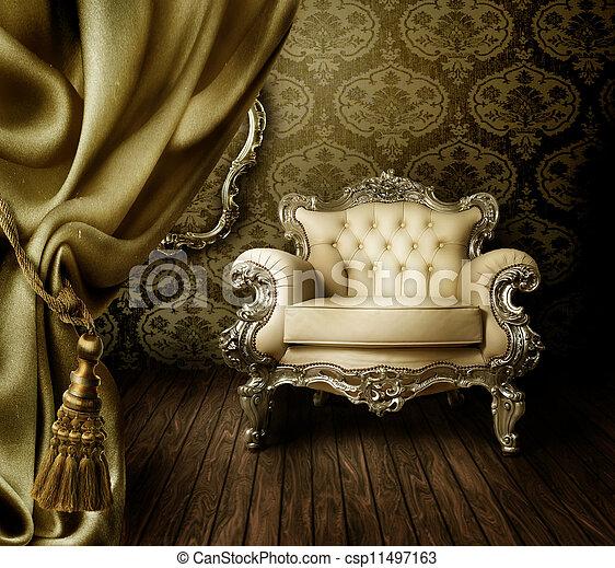美しい, 内部, 古い, スタイルを作られる - csp11497163