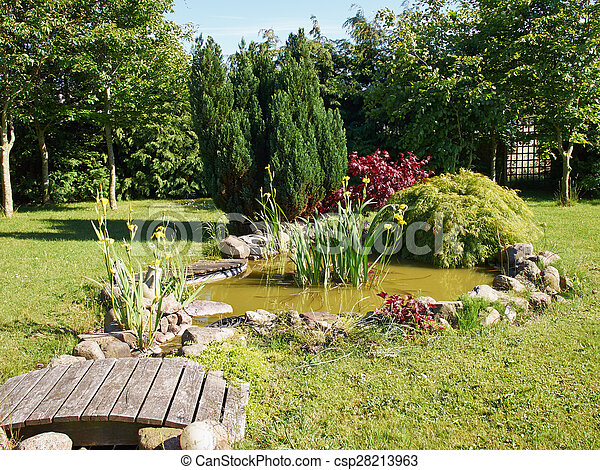 美しい, 園芸, 庭, 古典である, fish, 背景, 池 - csp28213963