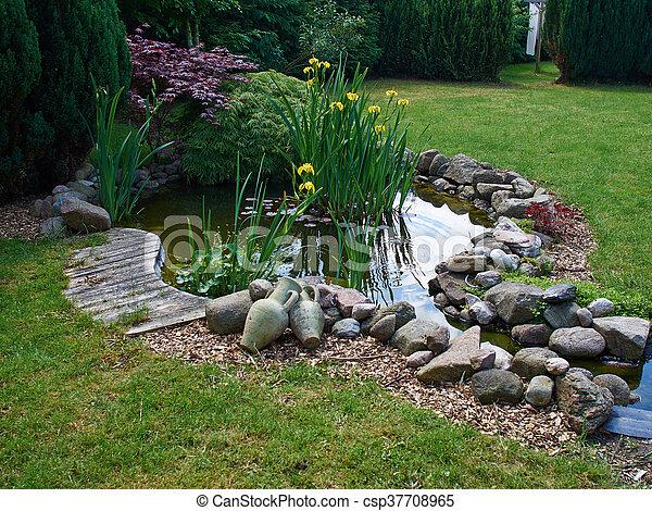 美しい, 園芸, 庭, 古典である, fish, 背景, 池 - csp37708965