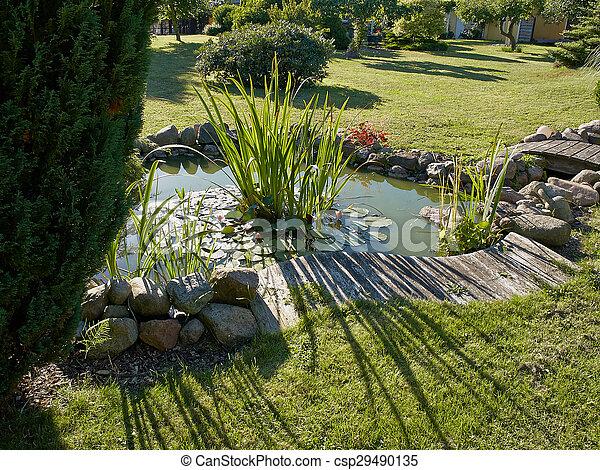 美しい, 園芸, 庭, 古典である, fish, 背景, 池 - csp29490135