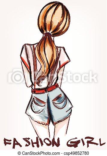美しい 地位 ファッション Backeps イラスト 女の子 美しい 地位