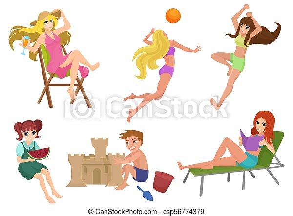 美しい, 夏, 女, 建物, 子供, volleyball., ベクトル, 弛緩, 読書, 砂, セット, かわいい少女, 遊び, 浜, castle., actions. - csp56774379