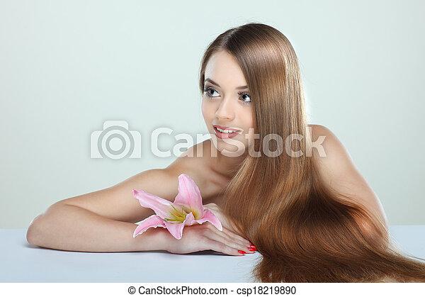 美しい, 女の子, 花, 化粧品, 感情 - csp18219890