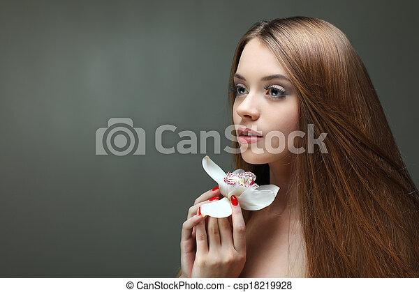 美しい, 女の子, 花, 化粧品, 感情 - csp18219928