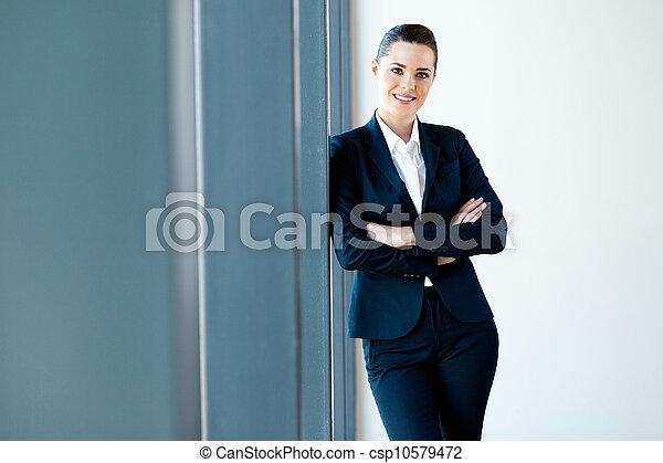美しい, 女性実業家, 長さ, 若い, 半分 - csp10579472
