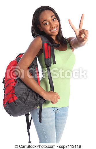 美しい, 学校, 印, 黒, ティーネージャー, 女の子, 勝利 - csp7113119