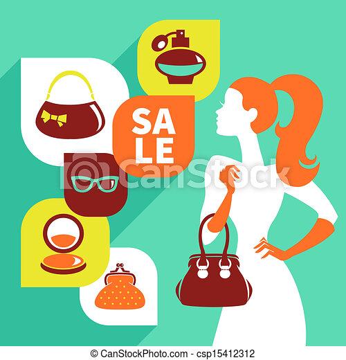 美しい, 平ら, 女性買い物, セール, icons., デザイン, 流行, シルエット - csp15412312
