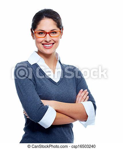 美しい, 微笑, woman., ビジネス - csp16503240