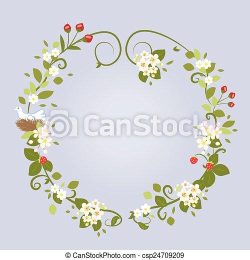 美しい 愛 春 フレーム 花輪 イラスト ベクトル デザイン 結婚式