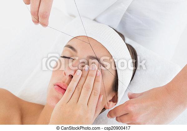 美しい, 手, 眉毛, 通すこと, 女性 - csp20900417