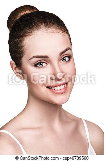 美しい, 新たに, skin., 女, 若い - csp46739560