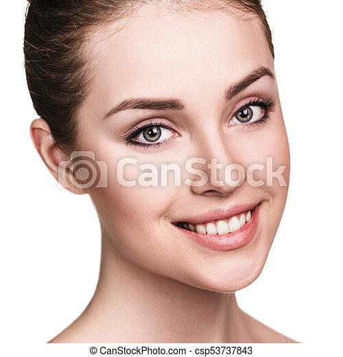 美しい, 新たに, skin., 女, 若い - csp53737843