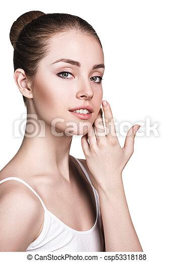 美しい, 新たに, skin., 女, 若い - csp53318188