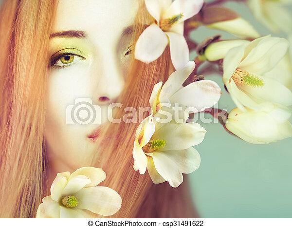 美しい, 春, 女, 花 - csp31491622
