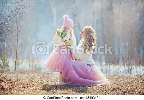 美しい, 春, 娘, 公園, 母 - csp48493194