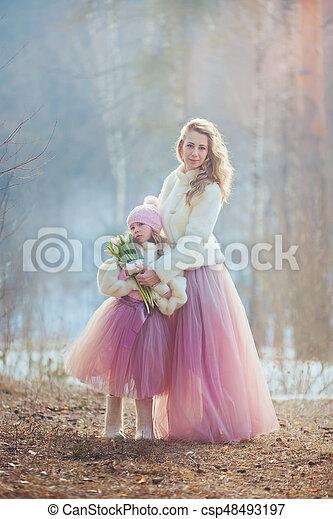 美しい, 春, 娘, 公園, 母 - csp48493197