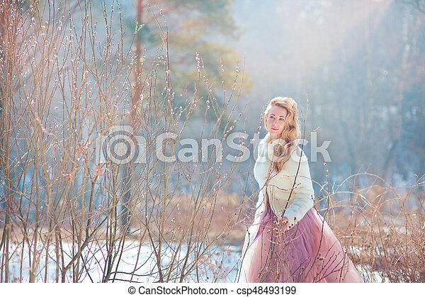 美しい, 春, 娘, 公園, 母 - csp48493199