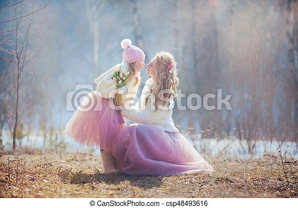 美しい, 春, 娘, 公園, 母 - csp48493616