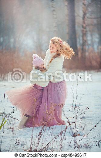 美しい, 春, 娘, 公園, 母 - csp48493617