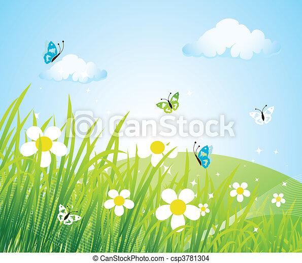 美しい, 春, 牧草地 - csp3781304