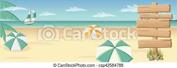 美しい, 木製である, 浜, トロピカル, 印 - csp42584788
