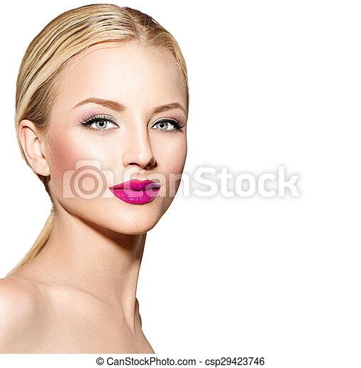 美しい, 毛, まっすぐに, 女, ブロンド - csp29423746
