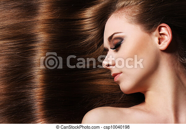 美しい, 毛, 女, 若い - csp10040198