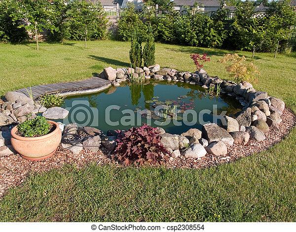 美しい, 池, fish, 庭, 古典である - csp2308554