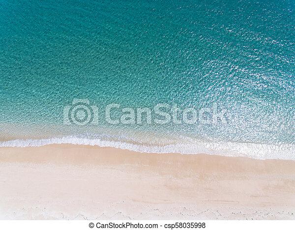 美しい, 浜, 航空写真, 砂, 光景 - csp58035998