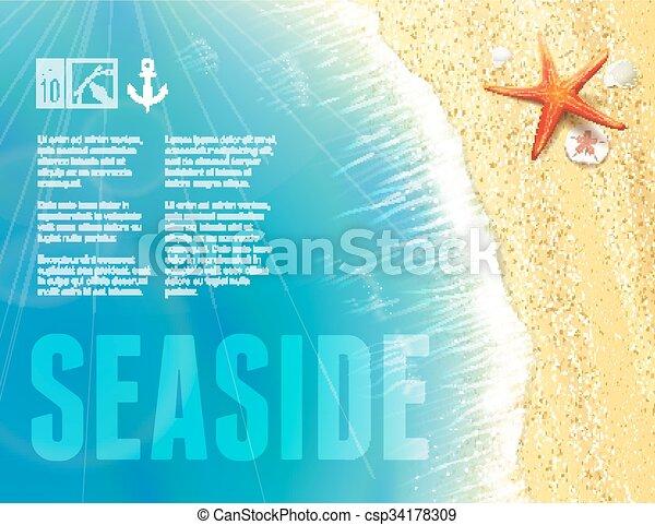 美しい, 海岸, starfish., 光景 - csp34178309