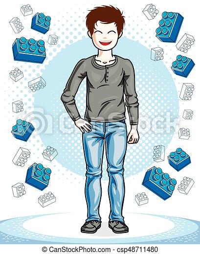 美しい, 男の子, ライフスタイル, illustration., cartoon., 若い, clothes., 偶然, ベクトル, ポーズを取る, ティーネージャー, 流行, 幸せ, 幼年時代, 子供 - csp48711480