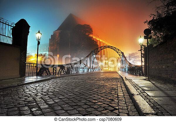 美しい, 町, 古い橋, 夜, 光景 - csp7080609