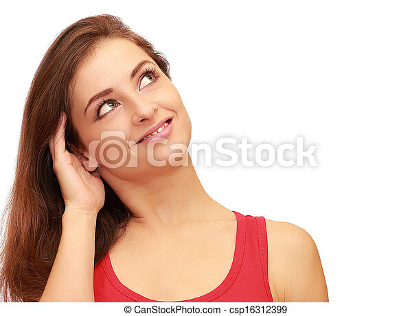 美しい, 考え, の上, 隔離された, 見る, クローズアップ, white., 肖像画, 微笑の女の子 - csp16312399