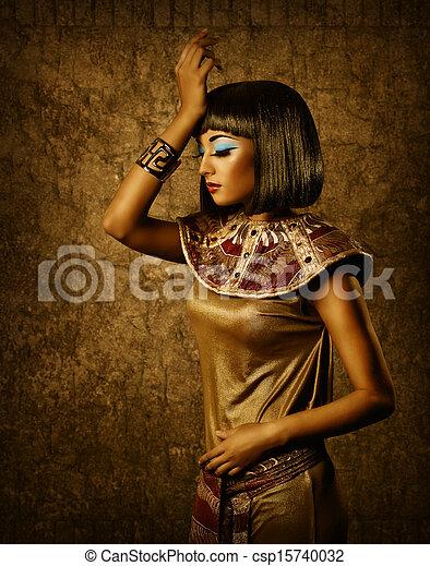 美しい, 肖像画, 女, 銅, エジプト人 - csp15740032