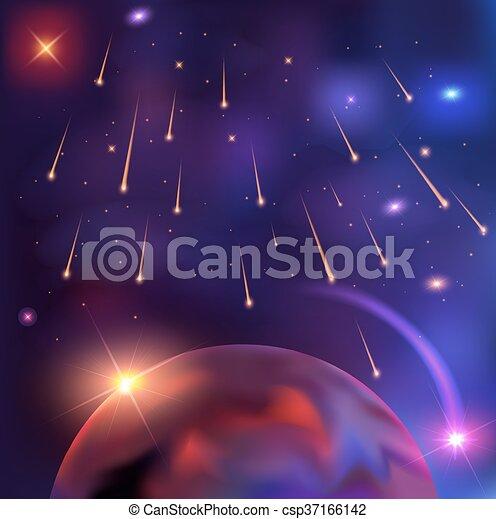 美しい 背景 スペースイラスト 惑星 ベクトル 星 流星 フラッシュ