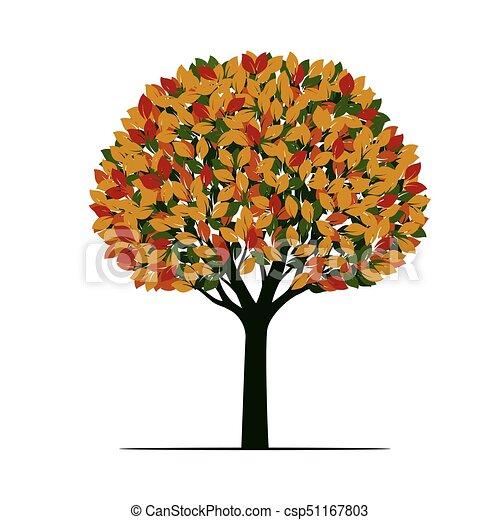 美しい, 色, 木。, illustration., ベクトル - csp51167803