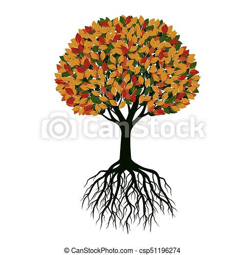 美しい, 色, 木。, illustration., ベクトル - csp51196274