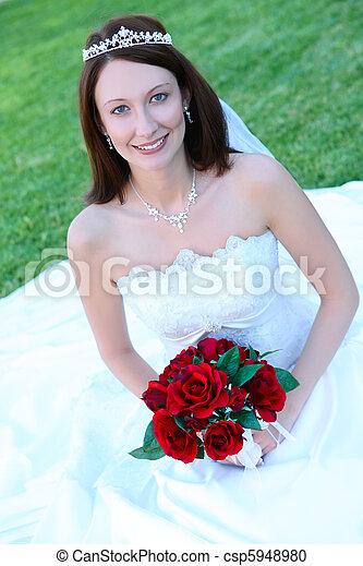 美しい, 花嫁, 女, 結婚式 - csp5948980
